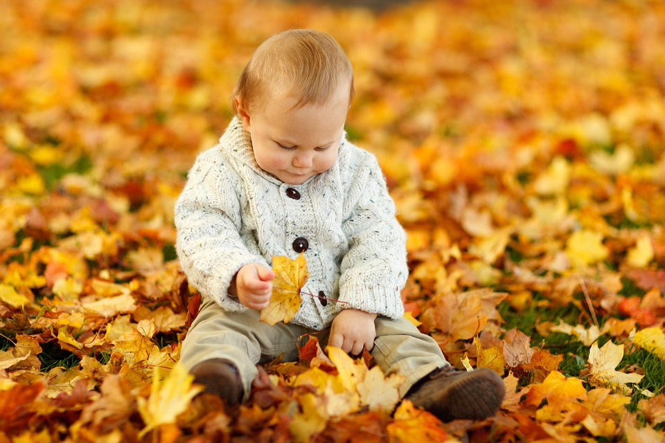 baby in fall leaves