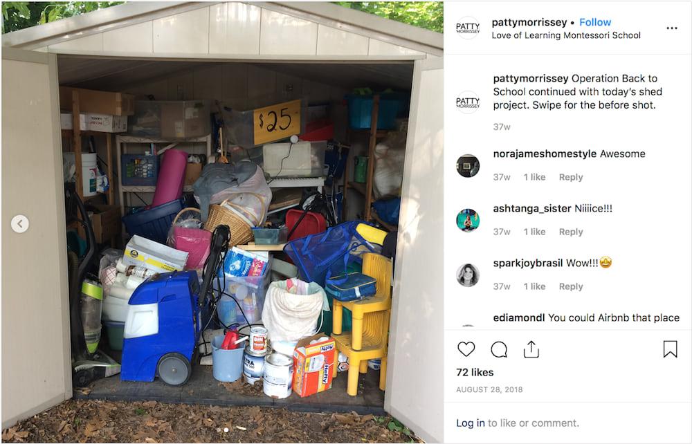 a disorganized shed